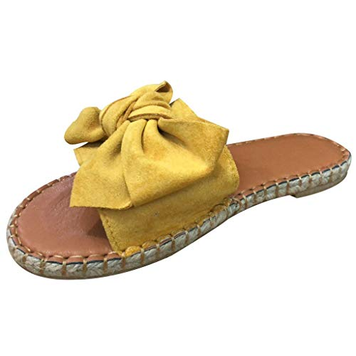 Aunimeifly Ladies Flock Butterfly-Knot Slipper Braided Bottom Slides Womens Casual Slippers Open Toe Sandals Yellow ()