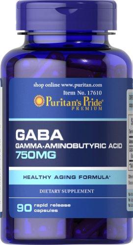 Pride de Puritan's GABA (acide Gamma aminobutyrique) 750 mg-90 gélules