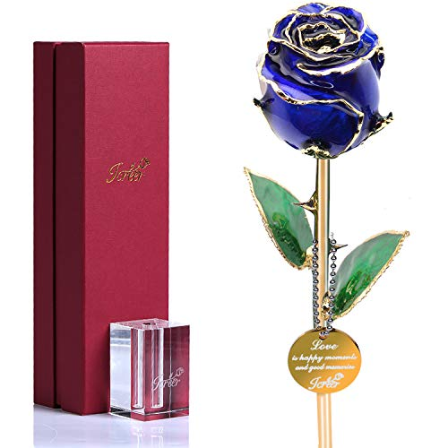 Forever Rose Flowers Gold Rose,Romantic Gift for Valentine's Day,Mother's Day,Birthday,Anniversary,Thanksgiving,Christmas,New Year,Blue