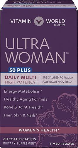 Vitamin World Ultra Woman 50 Plus Daily Multivitamin | Feat. Biotin, Vitamins B, C, D, E, Calcium, Zinc, Selenium, Beta-Carotene | Health & Wellness Multi-Supplement for Women Over 50, 60 Caplets