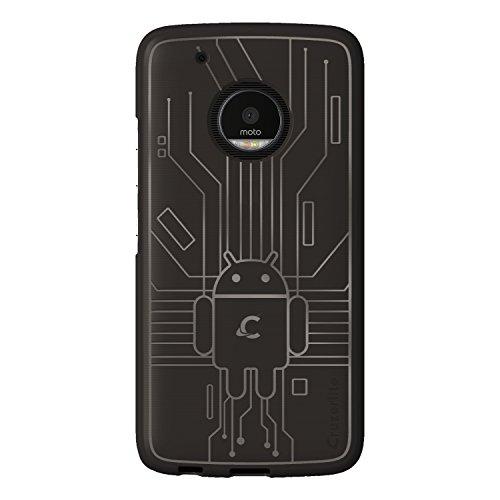 (Cruzerlite Moto G5 Plus Case, Bugdroid Circuit TPU Case for Motorola Moto G5 Plus - Retail Packaging - Smoke)