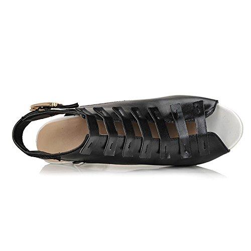AmoonyFashion Womens Open Peep Toe High HeelChunky Heels Soft Material PU Solid Sandals with Buckle Black 0mMjUpQbjy