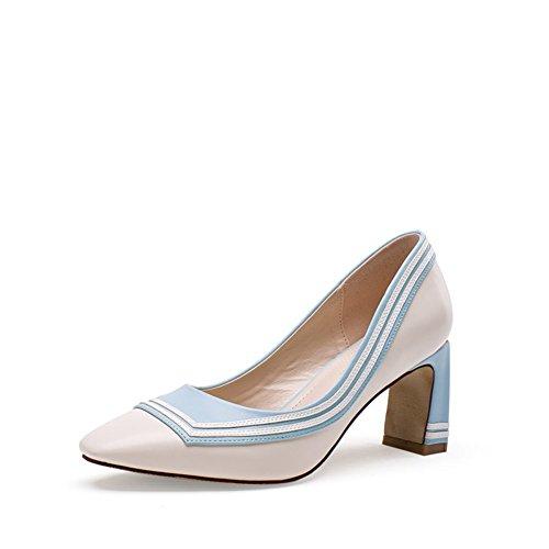 PUMPS Dünne Schuhe Herbst,Schuhe mit Hoher Ferse mit Koreanischer Version,Freizeit Schuhe Low Help Schuhe-A Fußlänge=22.3CM(8.8Inch)