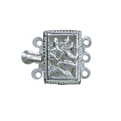 1 pc 925 Sterling Silver Filligree Rectangle Flower Tree Leaves 3 Strands Pearl Box Clasp 14.5mm Connector Switch / Findings (Clasp 3 Sterling Strand Box)