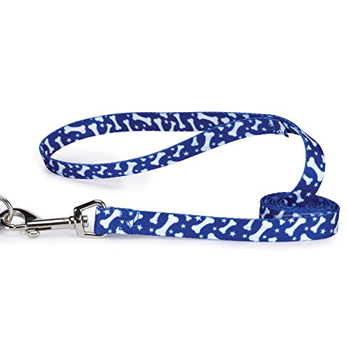 Casual Canine Pooch Patterns Dog Leash, 6-Feet x 1-Inch Lead, Blue Bone