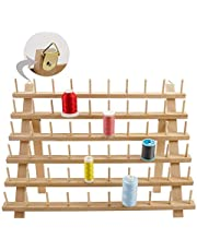 New Brothread 60 Spools Wooden Thread Rack/Thread Holder Organizer with Hanging Hooks for for Sewing, Quilting, Embroidery, Hair-braiding