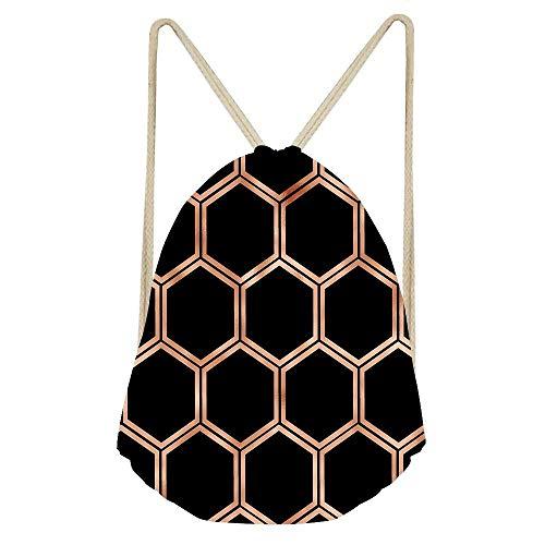 Goloingm Black Onyx Copper Hexagons Packable Sport Gym Drawstring Sackpack Backpack Bag with Wet Pocket for Men,Women
