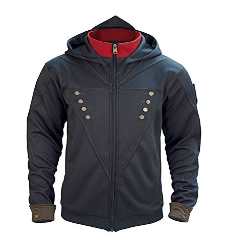Arno Assassin's Creed Costume (VOSTE Assassin Desmond Miles Hoodie Autumn Hooded Zipper Ezio Brotherhood Sweatshirts For Men (Small, A-Black))