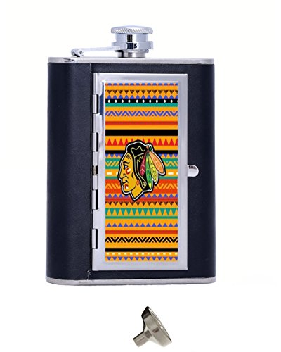 Chicago Blackhawks Image Custom Personalized Matte Stainless Steel 6 oz Hip Flask Gift Box With Cigarette Case,Cool Travel ()