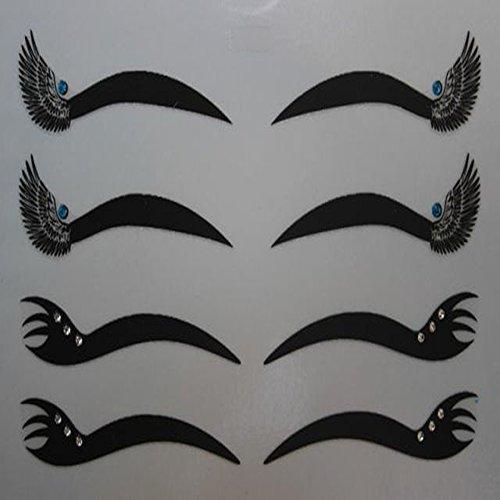 Spritech(TM) 4 pares delineador negro doble párpado etiqueta ojo cintas maquillaje herramienta de la belleza con el Rhinestone cristal