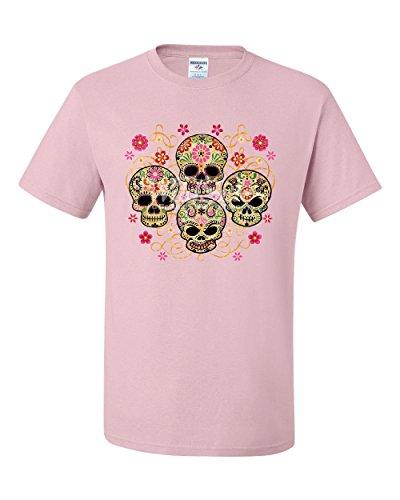 4 Cute Sugar Skulls T-Shirt Calaveras Dia de Los Muertos Mexico Tee Shirt Light Pink 5XL -