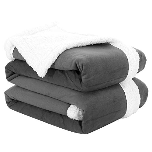 "Fassbel Sherpa Throw Blanket Reversible Super Soft Lightweight Blanket Microfiber Warm All Season Blanket for Bed or Couch (50""x60"", Dark Gray)"