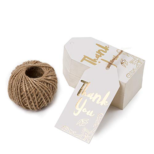 WRAPAHOLIC Gift Tags with String - 100PCS White Kraft Thank You Paper Tags with 100 Feet Natural Jute Twine for Wedding, Baby Shower, Party Favors ()