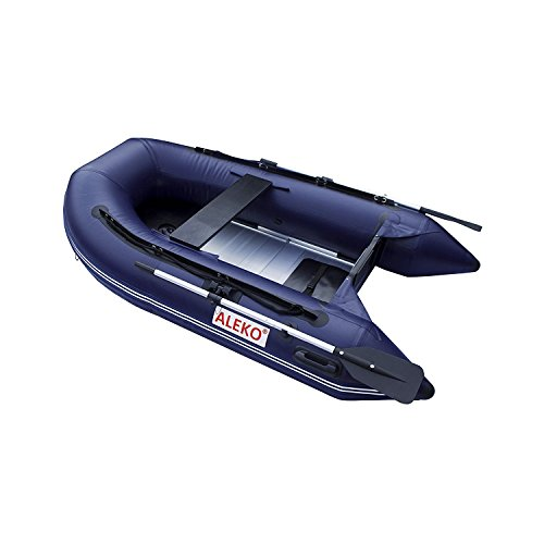 ALEKO Inflatable Boat with Aluminum Floor Heavy Duty Design 3 Person Raft Sport Motor Fishing Boat, 8.4 Feet Blue ALEKO Boats And Motors