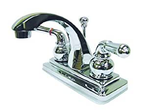 Kingston Brass KS4641NML Naples 4-Inch Centerset Lavatory Faucet with Pop-Up, Polished Chrome