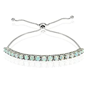 Sterling Silver Created Opal Adjustable Pull-string Bracelet