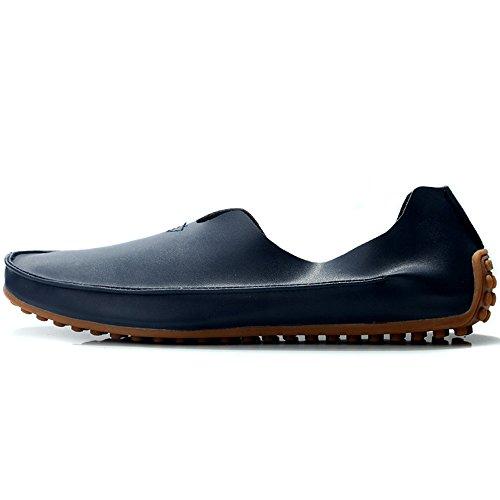 VILOCY Herren Beiläufig Schlüpfen Fahren Laofers Softbar Leder Boot Halbschuhe Schuhe Blau