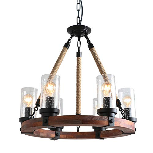 Anmytek C0008 Round Wooden Chandelier with Seeded Glass Shade Rope and Metal Pendant Six Decorative Lighting Fixture Retro Rustic Antique Ceiling Lamp, Brown (Chandelier Nautical Rope)