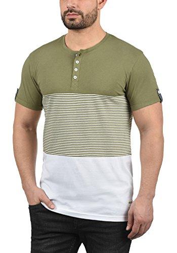 Camiseta Para solid Básica Marek 3612 Con Grandad Cuello De Manga Aloe Corta Rayas Hombre 5w0HCqw