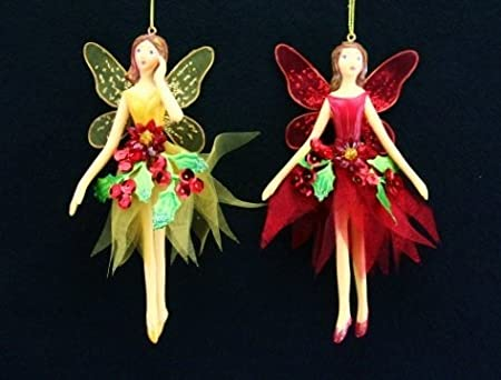 gisela graham red and gold poinsettia flower fairy hanging christmas tree decorations set of