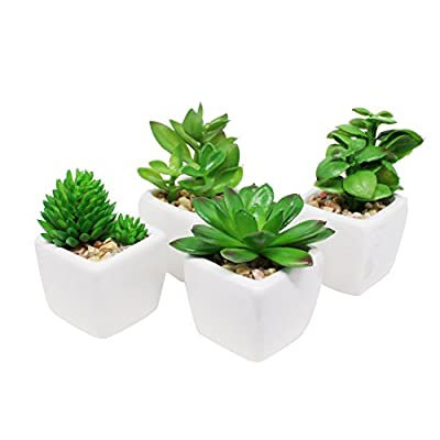 Pack of 4 Small Cube-Shaped White Ceramic Planter Pots with 4 different Artificial Succulent Plants for Home Decoration in Green color