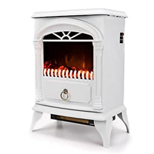 e-Flame USA Hamilton Free Standing Electric Fireplace Stove with 1500W Maximum Efficiency, 400 Square Feet Coverage, 22 Inch, White