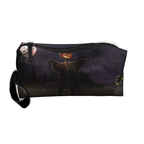 Kla Ju Portable Pencil Bag Purse Pouch Scarecrow Moon Night Stationery Storage Organizer Cosmetic -