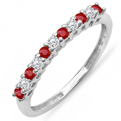10K White Gold Round Ruby And White Diamond Anniversary Stackable Wedding Band (Size 6)