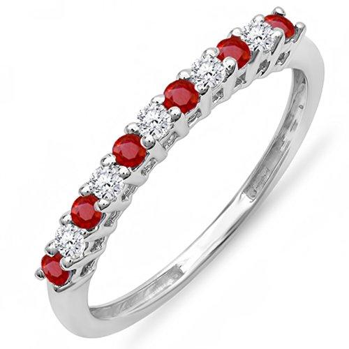 Diamond & Ruby Wedding Band - 7