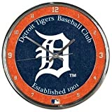 Detroit Tigers Round Chrome Wall Clock - Licensed MLB Baseball Merchandise