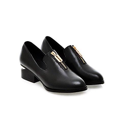 Amoonyfashion Zapatos De Tacón Bajo Con Punta Cerrada Para Mujer Con Suela De Goma Y Visera Pinker Negra