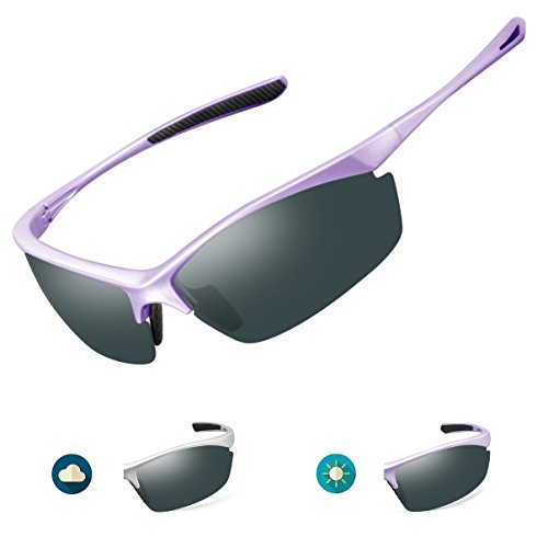 Under Logo Team Glass (IALUKU Polarized Sports Sunglasses for Men Outdoor Photochromic Frame Semi-rimless Glasses Cycling Running Driving Fishing Golf Baseball (Gray Frame Change to Purple Frame & Gray Lens))