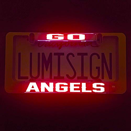 LumiSign - The Auto Illuminated License Plate Frame | Lights up While You Brake | Installs in Seconds | No Wires, Battery Operated | Interchangeable Inserts (Go Angels)