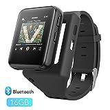AGPTEK 16GB Clip MP3 Music Player Wrist Watch, Bluetooth Mp3 Touch Screen Wearable