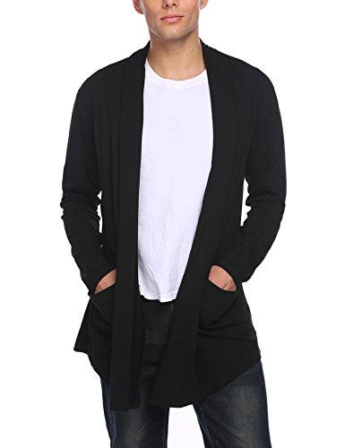 Donet Men's Ruffle Shawl Collar Cardigan Lightweight Cotton Blend Long Length Drape Cape Black (Cotton Blend Cardigan)