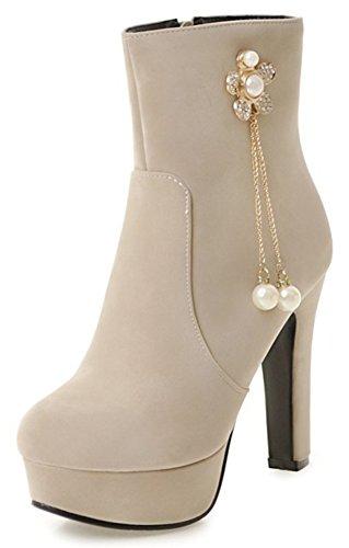 Ankle Rhinestone Zipper High Boots Flowers Heel Women's Beige Chunky Dressy Side Round Aisun Platform Toe EqF7wx