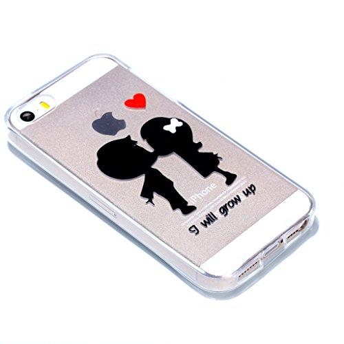 Crisant Case Cover For Apple iPhone 5 5S / SE,Bisous couple Premium gel TPU souple Très mince Transparent Clair Bumper silicone protection Housse arrière coque étui Pour Apple iPhone 5 5S / SE
