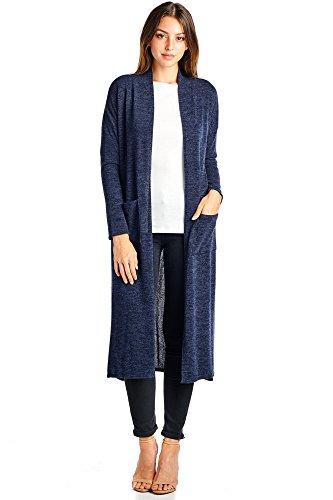 Modern Kiwi Solid Knit Long Sleeve Pocket Maxi Cardigan Navy ()