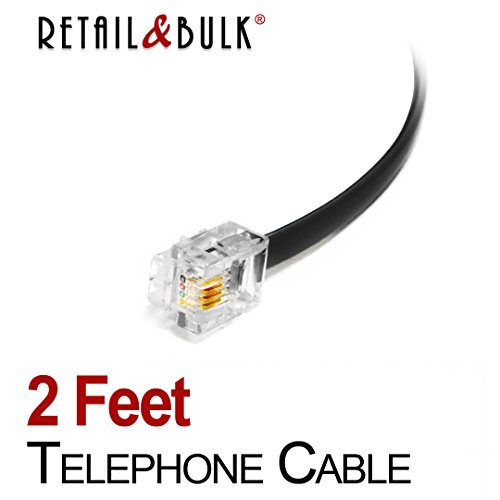 2 Feet Premium Quality Telephone Cable, RJ11 Male to Male 6P4C Phone Line Cord (24 Inch, - 6p4c Cable Phone