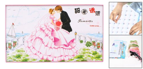 Handwork Stamped Cross Stitch Bride Groom Wedding Pattern Counted Kit