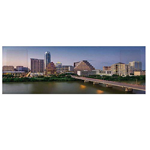 Modern Microwave Oven Cover with 2 Storage Bag,Austin Texas American City Bridge Over The Lake Skyscrapers USA Downtown Picture Cover for Kitchen,36
