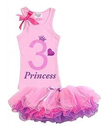 Bubblegum Divas Little Girls\' 3rd Birthday Shirt Pink Princess Tutu Outfit 3