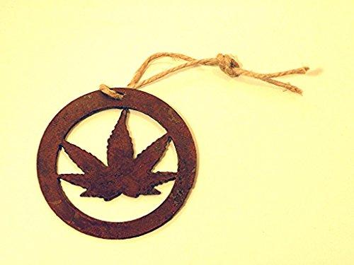 Ornament Marijuana Leaf Rustic Rusted Metal Fan Shade Pulls 3.5