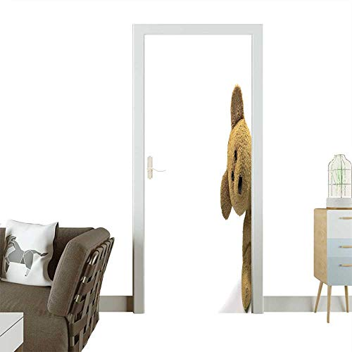 Homesonne Door Sticker Wallpaper Teddy Bear Looking in from The Right of Frame,White Background for Text Fashion and Various Pattern W30 x H80 INCH ()