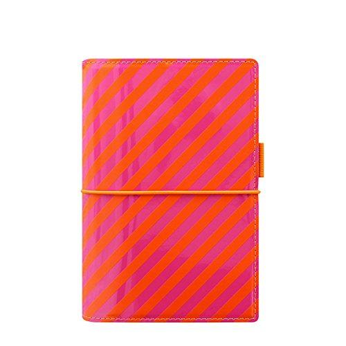 - Filofax A5 Domino Patent Stripes Personal Organiser - Orange/Pink
