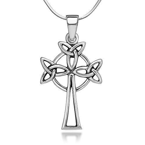 Chuvora 925 Sterling Silver Trinity Triquetra Celtic Knots Symbol Cross Unisex Pendant Necklace, 18 inches