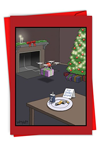 Santas Huge Package (C6253XSG-B12x1 Box Set of 12 'Santa's Drone' Hilarious Christmas Greeting Card Featuring Batteries Out As A Snack Instead of Milk and Cookies, with Envelopes)