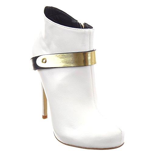 Sopily - Zapatillas de Moda Botines Low Boots Stiletto Low boots Tobillo mujer Hebilla metálico 12 CM - Blanco