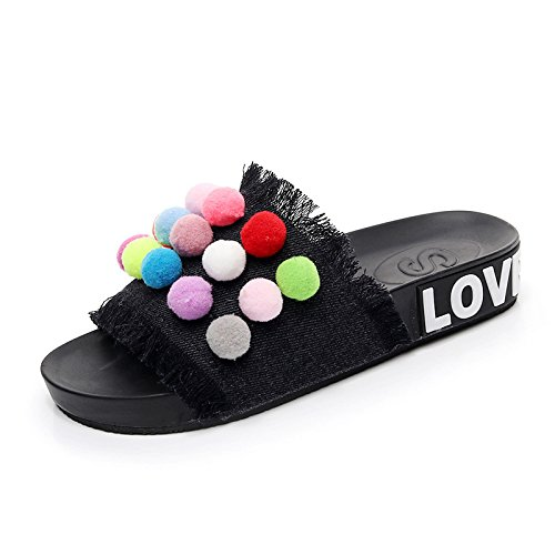 Summer Thick Pink Denim New Casual Slippers and Sandals Plain XKNSLX Sandals Flat 4gtqBA