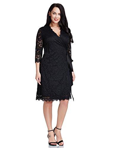 Lookbookstore Womens Plus Size Lace 34 Sleeves Formal True Wrap Dress